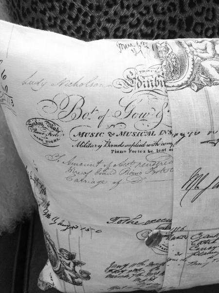 french script fabric pillow slip