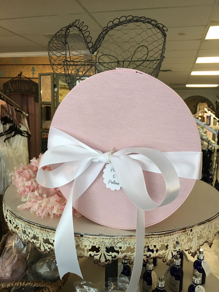 pink french hat box