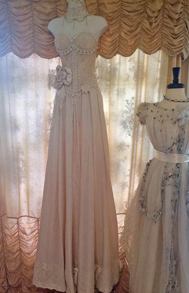vintage wedding gown display