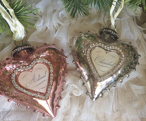 pink and silver mercury glass ornaments