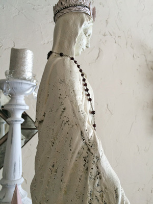 White Mary Statue French Rosary