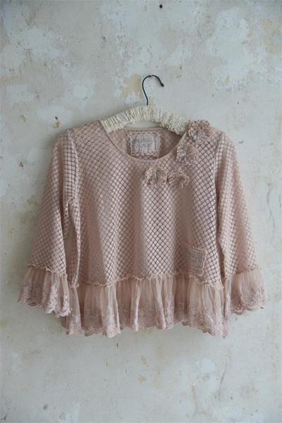 Boho Lace Shirt Vintage Pink
