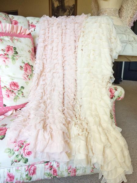 pink ruffles fabric