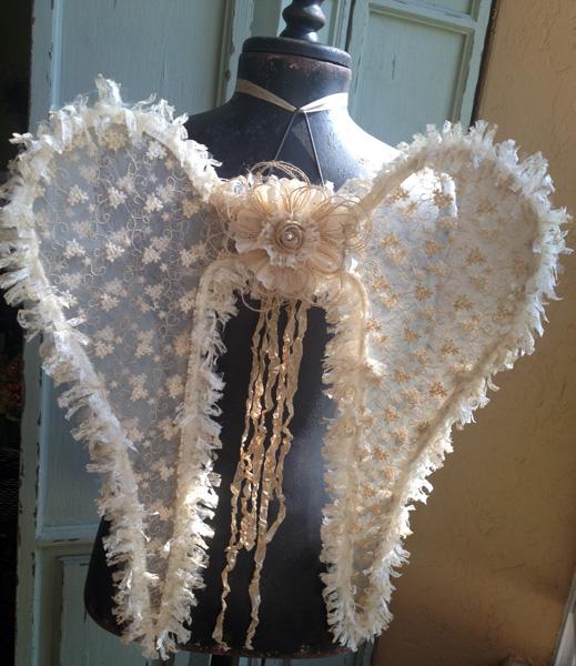 Vintage Angel Wings Burlap Lace Tulle