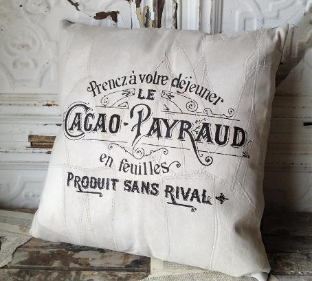 French Ad Leather Pillow