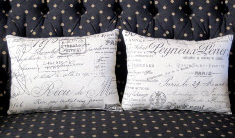 French Script Document Fabric Pillow