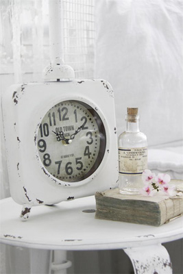 White Patina Table Clock