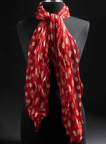 Red And Tan Dot Scarf