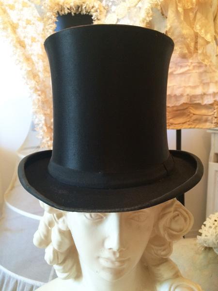 Antique French Silk Top Hat Gentleman S Decor Costume Piece