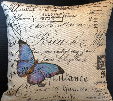 Papillon Blue French Script Pillow Slip