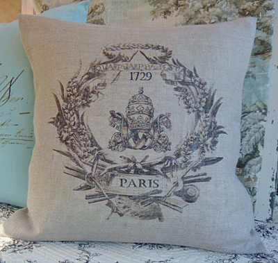 Paris 1729 French Wreath Linen Pillow