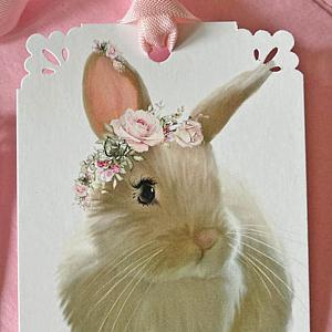 Penelope Rabbit Pink Roses Wreath Crown Gift Tags