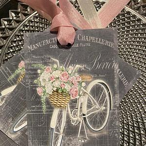 French Bicycle Shabby Pink Roses Gift Tags