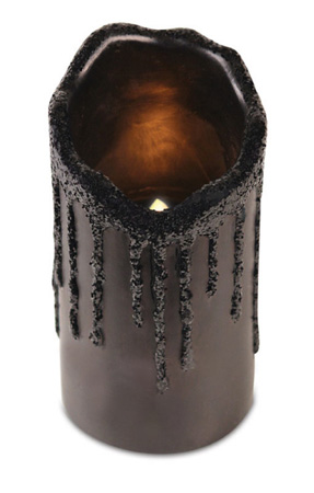 Black Glitter Drip LED Candle