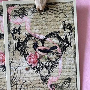 Queen Of Hearts Shabby Pink Bird And Roses Gift Tags
