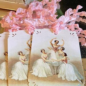 Vintage French Ballerina Shabby Pink Ribbon Gift Tags