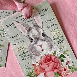 Roses Rabbits and French Script Gift Tags