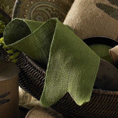 Burlap Ribbon Apple Green