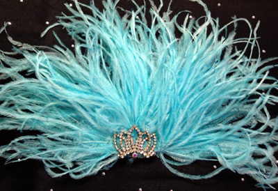 Aqua Ostrich Feather Fascinator