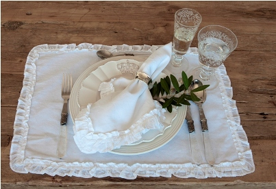 Ruffled White Table Linens