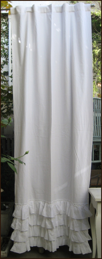 Ruffled White Curtain Panel