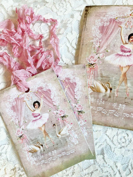 Ballerina In Pink Gift Card And Tags