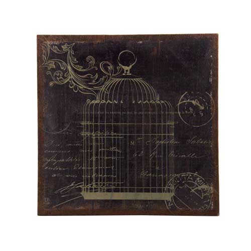 Bird Cage Prints On Burlap