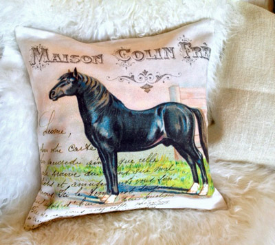 French Maison Horse Pillow Slip