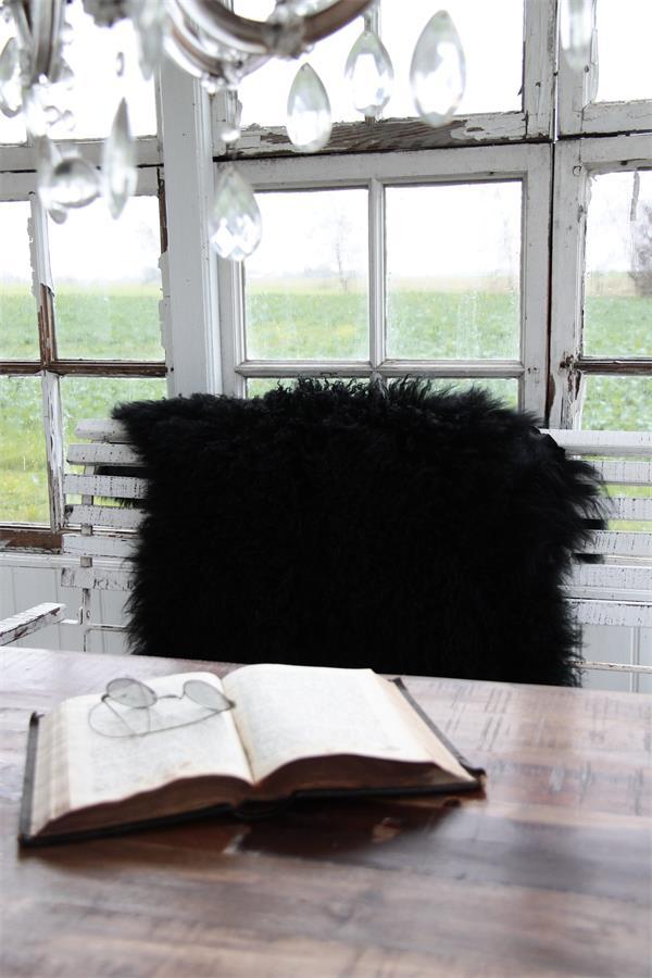 Black Tibetan Lamb Wool Rug Throw