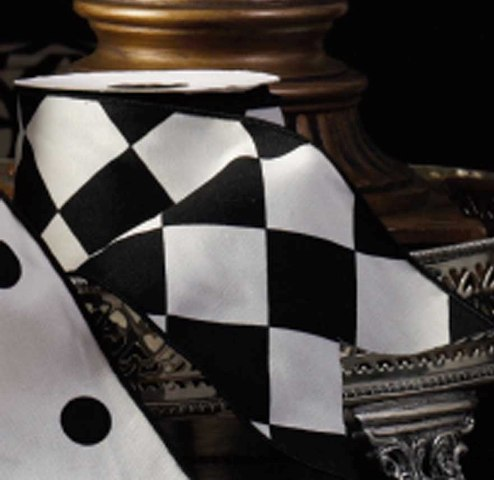 French Ribbon Black and White Harlequin