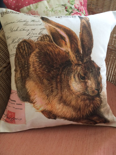 French Bunny Pillow Cover