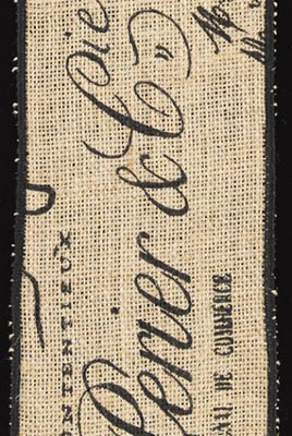French Script Burlap Ribbon