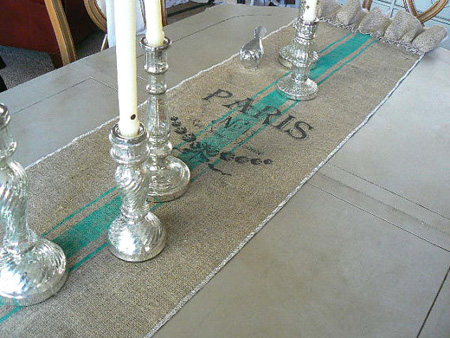 French Grain Sack Table Runner