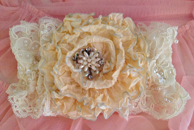 French Ribbon Vinatge Lace Bridal Garter