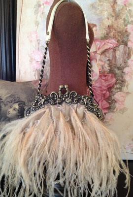 Feather Clutch Antique Ivory