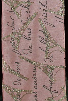 French Script Ribbon Pink Silk