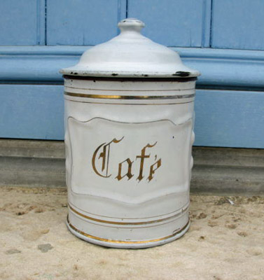 Antique Enamel Caf� Canister