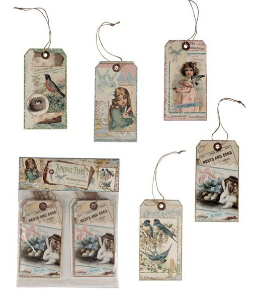 Victorian Flea Market Tags Ornaments