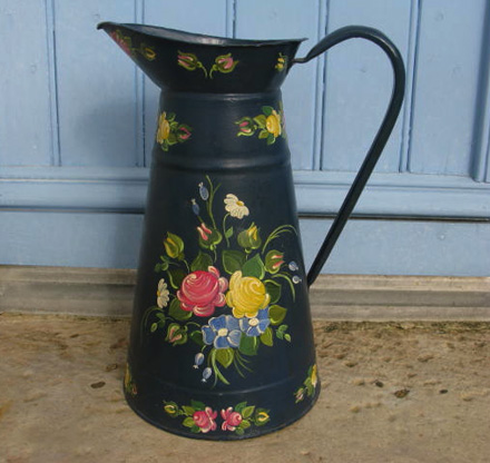 Vintage French Hand Painted Enamel Pitcher