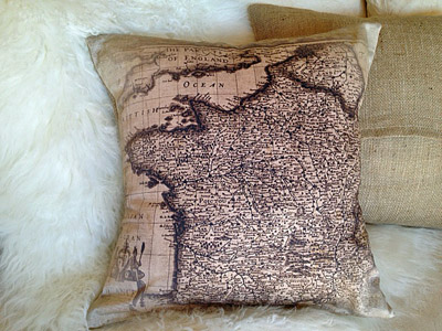 French Map Pillow Slip