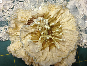 Champagne French Ribbon Flower