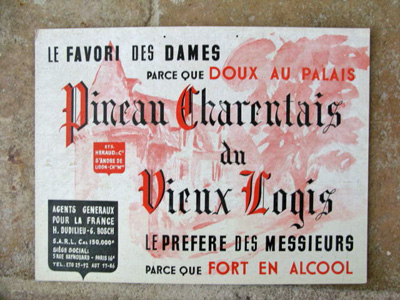 French Ad Sign Vintage Pineau