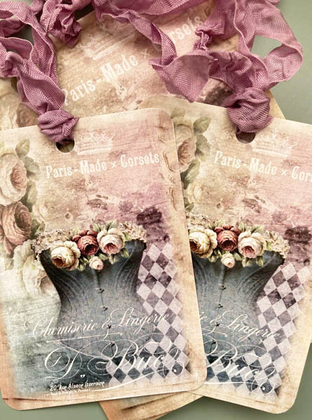 French Blue Corset Gift Cards And Tag Set