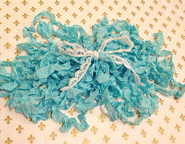 French Blue Crinkle Ribbon