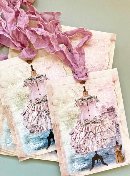 French Dress Form Gift Cards Tag Set