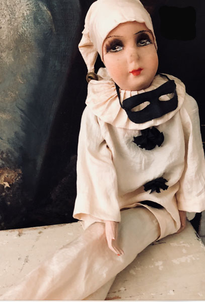 Charming Antique French Pierrot Masquerade Doll