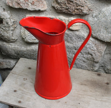 French Antique Red Enamelware Pitcher