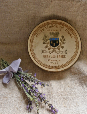 French Antique Tin Crown Crest