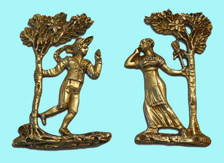 French Gilt Couple Furniture Mounts Decorations