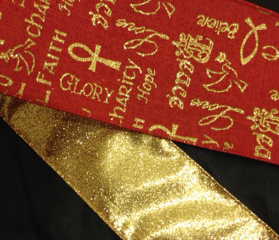 Gold Glitter French Ribbon
